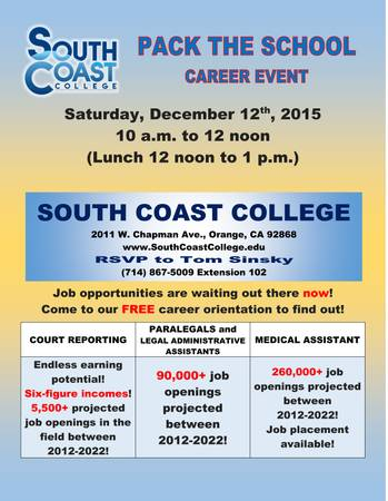 CAREER EVENT: Pack the School - South Coast College
